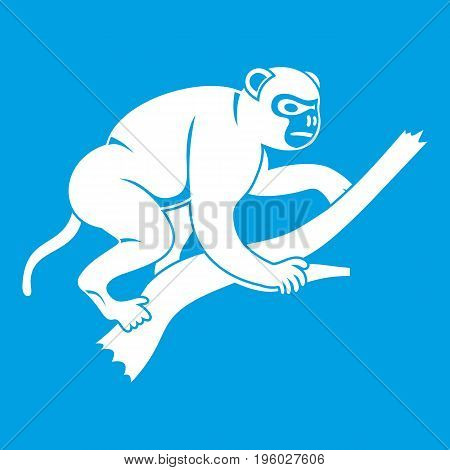Monkey is climbing up on a tree icon white isolated on blue background vector illustration