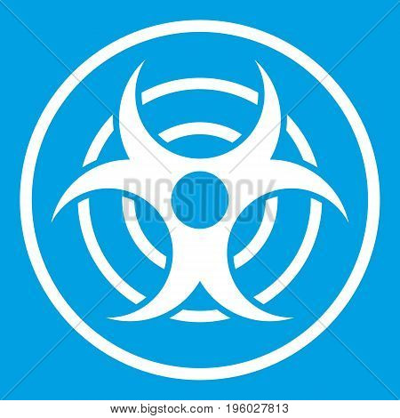 Sign of biological threat icon white isolated on blue background vector illustration