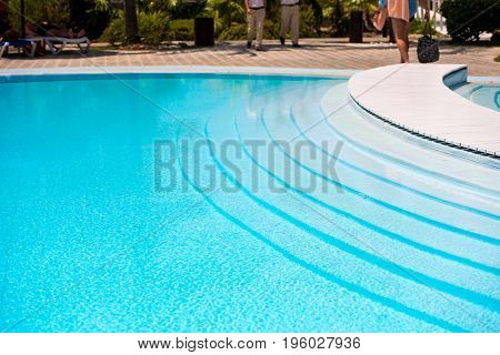 Pool close-up. Island Cayo Largo Cuba. Copy space for text