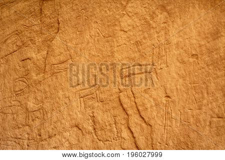 Prehistoric drawings on the rocks in Timna Israel.
