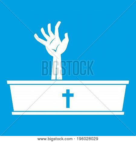 Zombie hand coming out of his coffin icon white isolated on blue background vector illustration