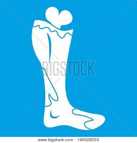 Zombie leg icon white isolated on blue background vector illustration
