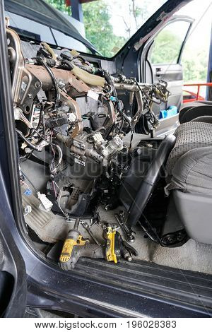 Dismantled mobile car a/c reapair evaporator change