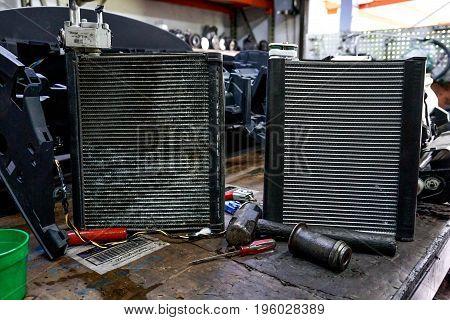 Dirty and new car A/C Evaporators aluminum