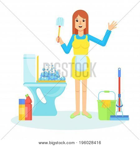 Service Woman And Toilet