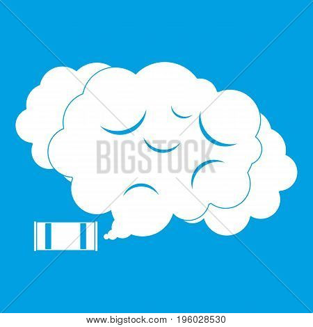 Tear gas icon white isolated on blue background vector illustration