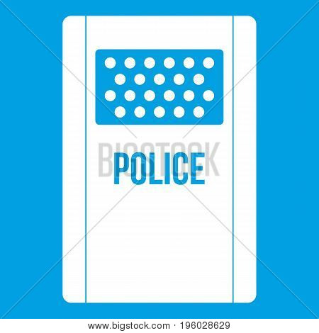 Riot shield icon white isolated on blue background vector illustration