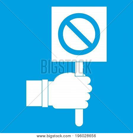 Hand showing stop signboard icon white isolated on blue background vector illustration