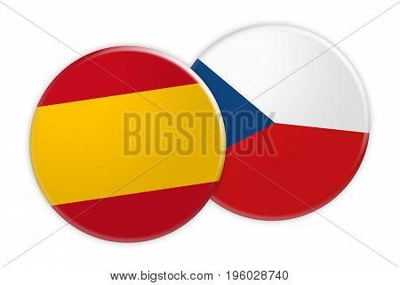 News Concept: Spain Flag Button On Czech Republic Flag Button 3d illustration on white background