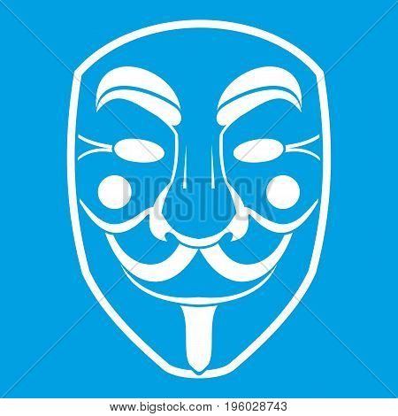 Vendetta mask icon white isolated on blue background vector illustration