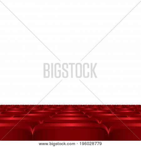 Rows of red cinema or theater seats. Red chairs or chairs in the cinema vector illustration