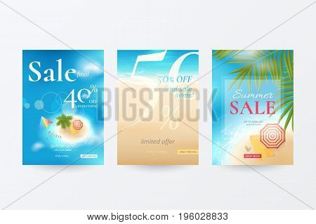 Vector set of banners for summer sale with top view of tropical island, beach, sea, waves, palm tree, kite, umbrella, towel and flip flops. Template for discount offers with travel background.