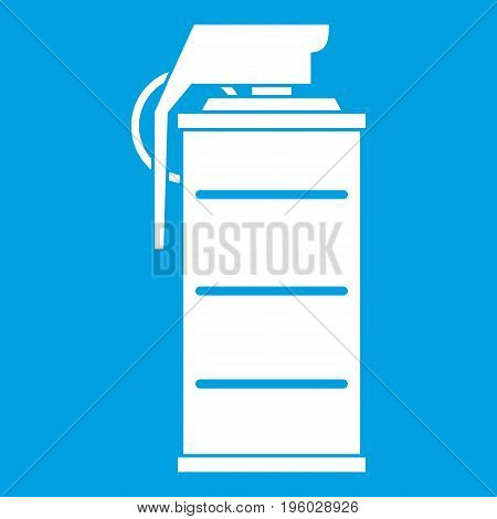 Stun grenade icon white isolated on blue background vector illustration