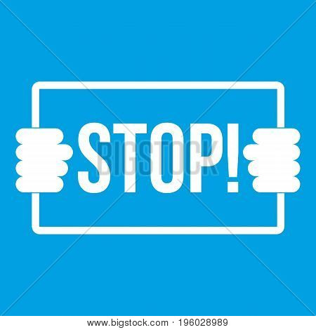 Stop icon white isolated on blue background vector illustration