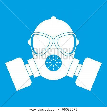 Respirator icon white isolated on blue background vector illustration