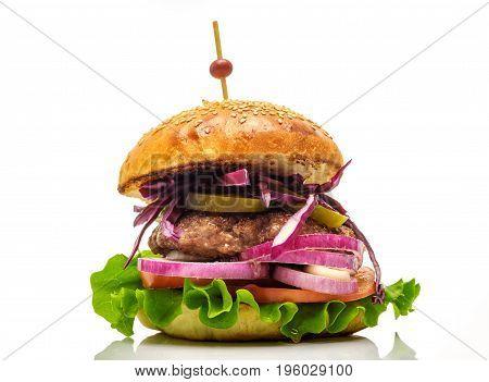 Fresh hamburger with vegetables isolated on white background.