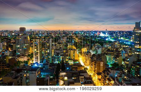 BUENOS AIRES, ARGENTINA SEPTEMBER 7: Panoramic view over the city at night on September 7, 2016 in Buenos Aires, Argentina.