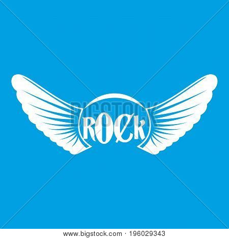 Rock icon white isolated on blue background vector illustration