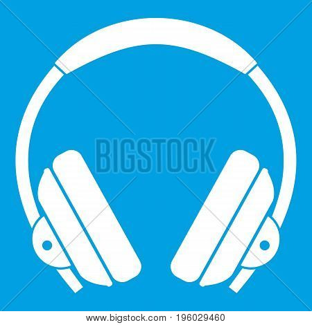 Headphone icon white isolated on blue background vector illustration