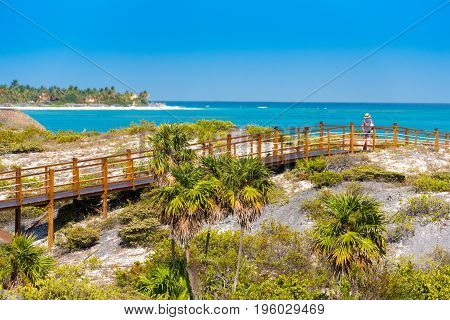 The Bridge To The Sandy Beach Playa Paradise Of The Island Of Cayo Largo, Cuba. Copy Space For Text.