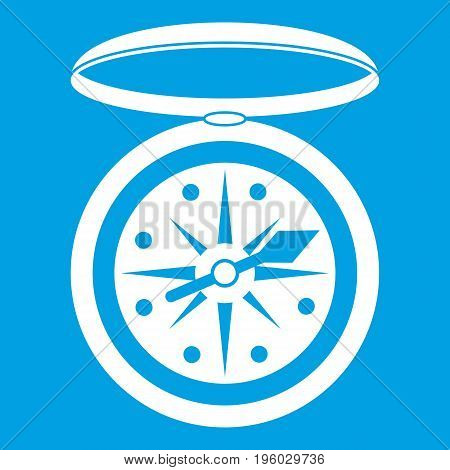 Compass icon white isolated on blue background vector illustration