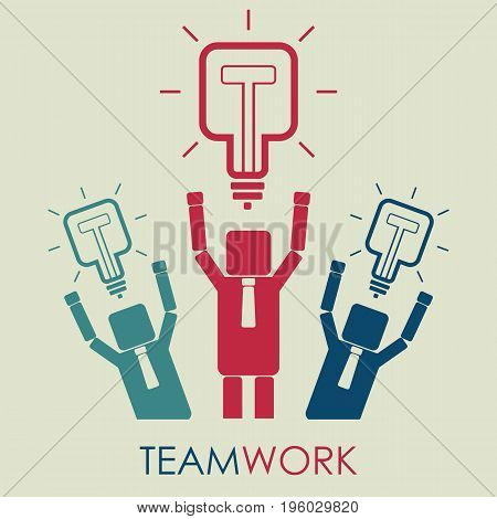 Teamwork and leadership concept. Businessmans hold square light bulbs over head. Vector.