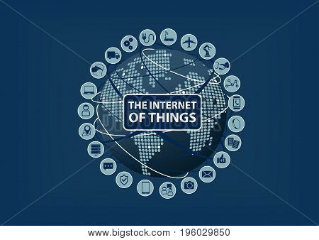 Internet of Things (IoT) word and icons with globe and world map