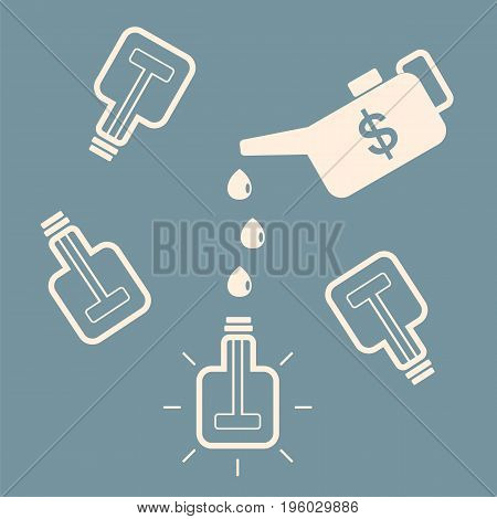 Monetary investment generating new ideas. A square bulb glows fueled with money.