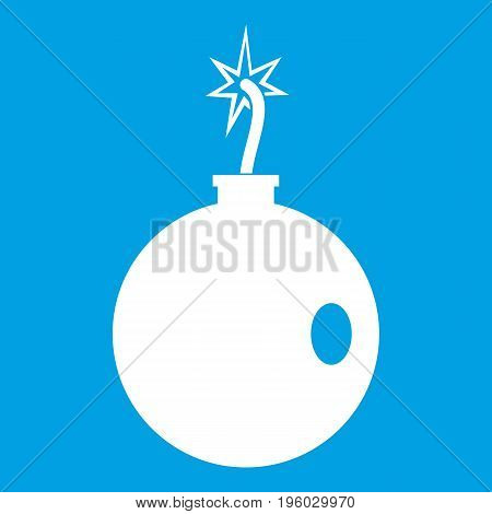 Cannonball icon white isolated on blue background vector illustration
