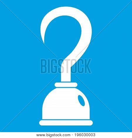Hook icon white isolated on blue background vector illustration