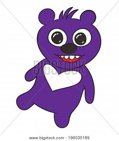 Happy teddy bear - cute cartoon bear vector hand drawing illustration