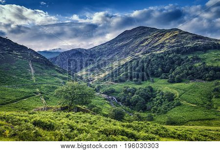 Nant Gwynant Valley With River Waterfalls in Snowdonia Wales