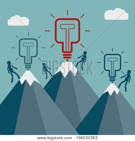 Businessmans climbing a top of a mountain with square light bulb. New idea concept. Vector illustration.