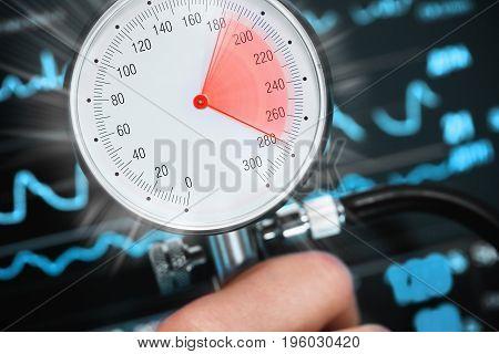 High blood pressure threatens health. Danger Sign