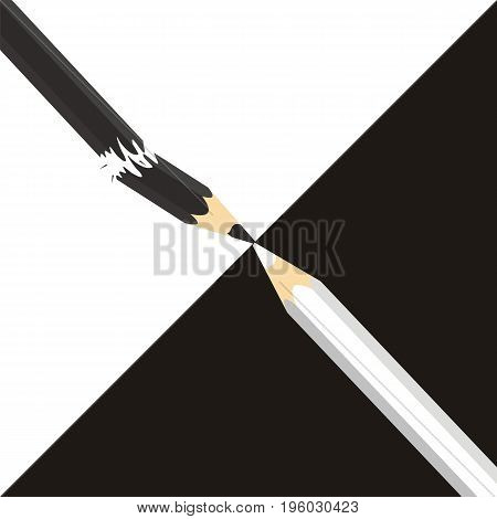 Opposition or competitor concept. White and black pencil are opposed to each other. Black pencil broken. Vector