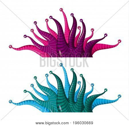 fantastic cartoon underwater plants algae - vector isolated  illustration