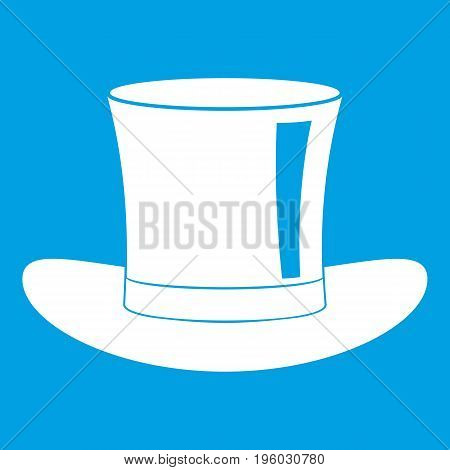 Silk hat icon white isolated on blue background vector illustration