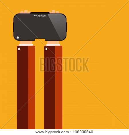 Hands holding virtual reality glasses. Vector illustration.