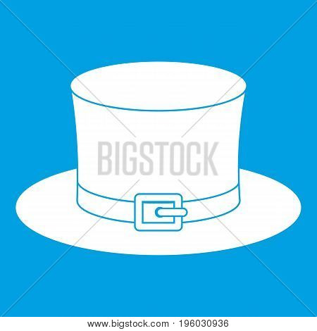 Leprechaun hat icon white isolated on blue background vector illustration