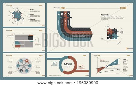 Infographic design set can be used for workflow layout, diagram, annual report, presentation, web design. Business and analyzing concept with process, area, line, radar and percentage charts.
