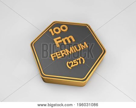 fermium - Fm - chemical element periodic table hexagonal shape 3d render