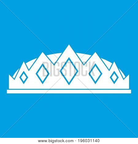 Small crown icon white isolated on blue background vector illustration