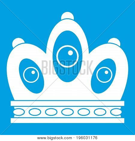 Queen crown icon white isolated on blue background vector illustration