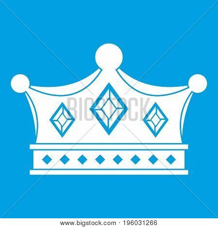 Prince crown icon white isolated on blue background vector illustration