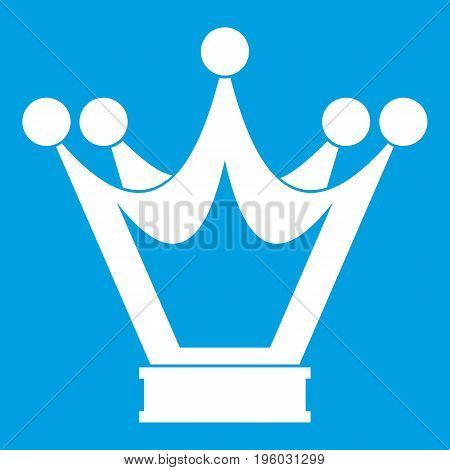 Princess crown icon white isolated on blue background vector illustration
