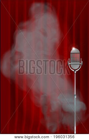 A stage with a red curtain and smoke around the microphone
