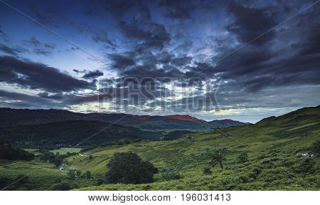 Twilight Sky Over Nant Gwynant Valley in SNowdonia UK