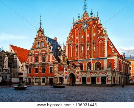 City Hall Square With House Of The Blackheads In Old Town Of Riga In The Morning, Latvia