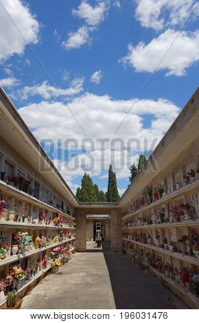 Christian tombs in the Verano cemetery in Rome Italy