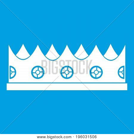Little crown icon white isolated on blue background vector illustration